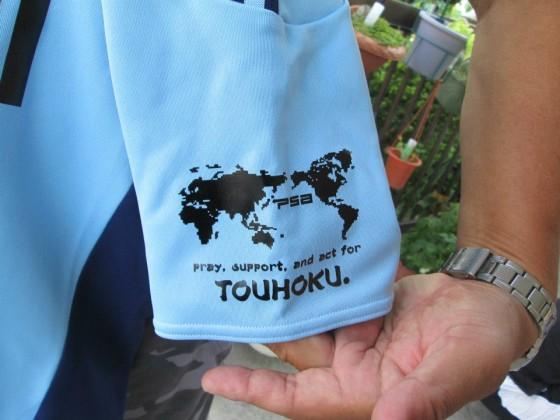 支援の証にと、Tシャツのデザインを入れて頂きました。